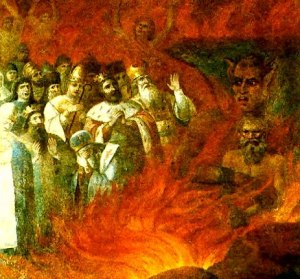 Leo Tolstoy in Hell. Fresco, 1883. In the lower tier at the far right of this fresco (originally in the church at the village of Tazovo in the Kursk Province), Tolstoy is shown embraced by Satan who received him in hell while the holy prelates and apostles of Orthodoxy gave blessing to the act. The Fresco was removed at Lenin's special order during the Bolshevik crusade against religion in the early years of the Soviet regime. The fresco was later transferred to the Museum for the History of Religion and Atheism of the Soviet Union in Moscow.